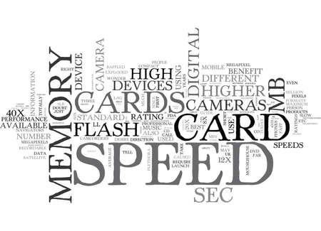 WHAT IS MEMORY CARD SPEED TEXT WORD CLOUD CONCEPT