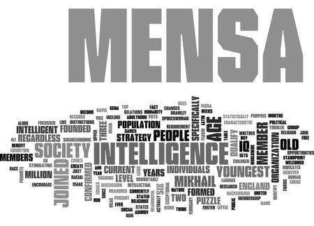WHAT IS MENSA TEXT WORD CLOUD CONCEPT