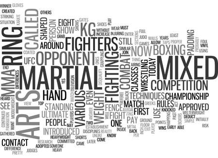 WHAT IS MIXED MARTIAL ARTS TEXT WORD CLOUD CONCEPT Illustration