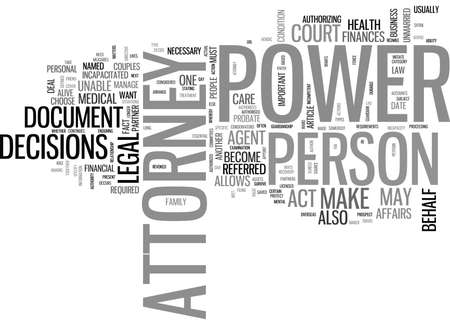 WHAT IS POWER OF ATTORNEY TEXT WORD CLOUD CONCEPT