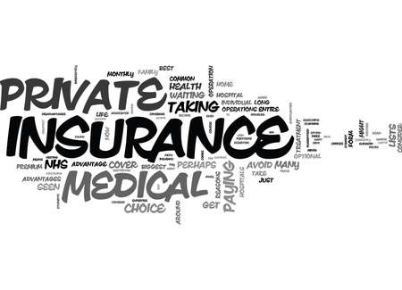 WHAT IS PRIVATE MEDICAL INSURANCE TEXT WORD CLOUD CONCEPT