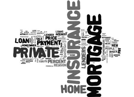 民間モーゲージ保険のテキスト単語クラウド コンセプトは何です。  イラスト・ベクター素材