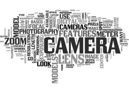 WHAT SHOULD YOUR LOOK FOR IN A NEW CAMERA TEXT WORD CLOUD CONCEPT