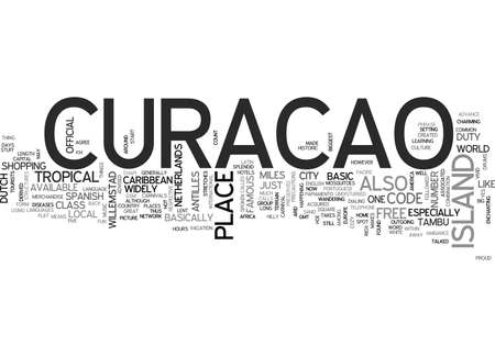 WAAR IS CURACAO TEKST WORD CLOUD CONCEPT