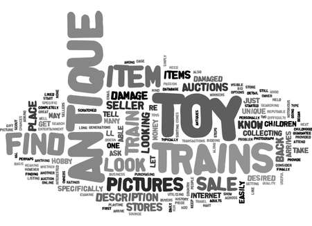 WHERE TO FIND ANTIQUE TOY TRAINS FOR SALE TEXT WORD CLOUD CONCEPT
