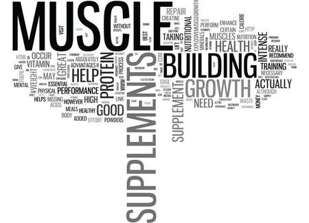 WHAT SUPPLEMENTS DO I NEED FOR MUSCLE GROWTH TEXT WORD CLOUD CONCEPT Ilustração