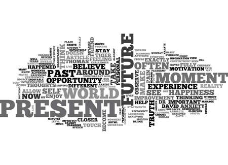tightness: WHERE IS YOUR HAPPINESS PAST PRESENT OR FUTURE TEXT WORD CLOUD CONCEPT