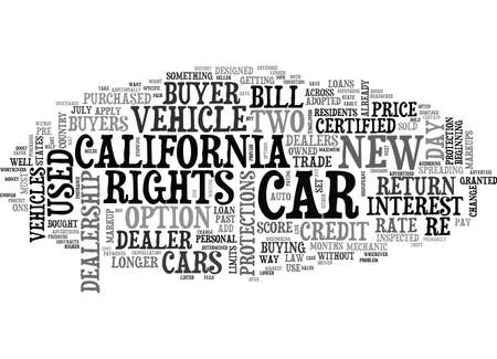 WHAT THE NEW CALIFORNIA CAR BUYER S BILL OF RIGHTS MEANS TO YOU TEXT WORD CLOUD CONCEPT