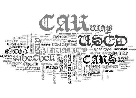 advantages: WHERE TO BUY A USED CAR TEXT WORD CLOUD CONCEPT Illustration
