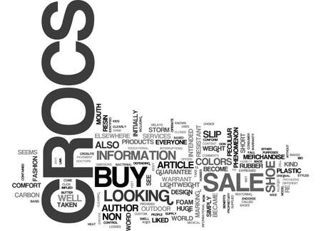 WHERE TO BUY CROCS ON SALE TEXT WORD CLOUD CONCEPT