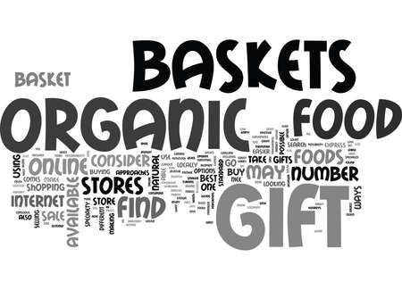 WHERE TO BUY ORGANIC FOOD GIFT BASKETS TEXT WORD CLOUD CONCEPT Ilustração