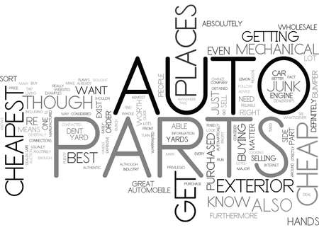 WHERE TO BUY THE CHEAPEST AUTO PARTS TEXT WORD CLOUD CONCEPT