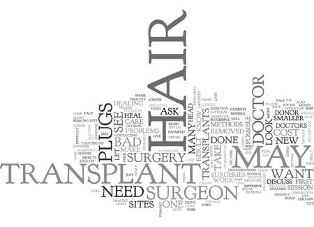 WHAT TO DO ABOUT BAD HAIR TRANSPLANTS TEXT WORD CLOUD CONCEPT