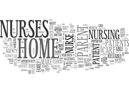 WHERE TO FIND A HOME NURSE TEXT WORD CLOUD CONCEPT