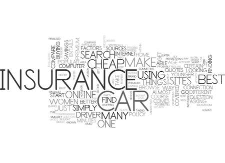 WHERE TO FIND CHEAP CAR INSURANCE TEXT WORD CLOUD CONCEPT