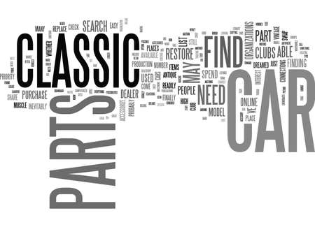 WHERE TO FIND CLASSIC CAR PARTS TEXT WORD CLOUD CONCEPT 向量圖像
