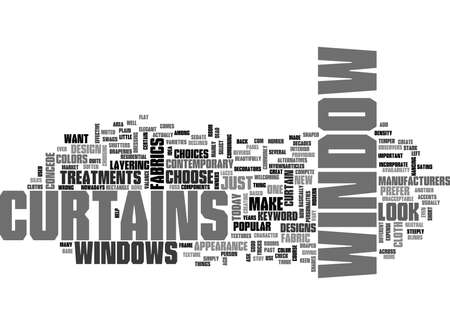 WINDOW CURTAINS TEXT WORD CLOUD CONCEPT Ilustração