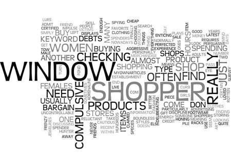 shopper: WINDOW SHOPPER TEXT WORD CLOUD CONCEPT Illustration