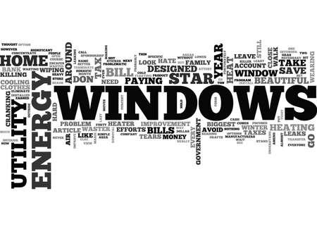WINDOWS AND KILLER UTILITY BILLS TEXT WORD CLOUD CONCEPT Çizim