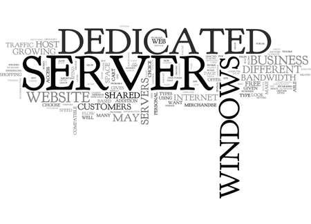 WINDOWS DEDICATED SERVER TEXT WORD CLOUD CONCEPT