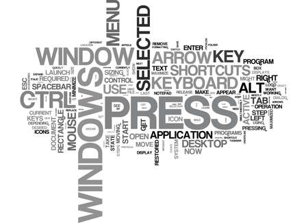mostly: WINDOWS KEYBOARD SHORTCUTS TEXT WORD CLOUD CONCEPT