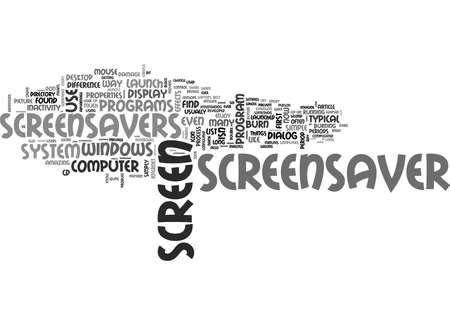 WINDOWS SCREENSAVERS EXPLAINED TEXT WORD CLOUD CONCEPT Illusztráció