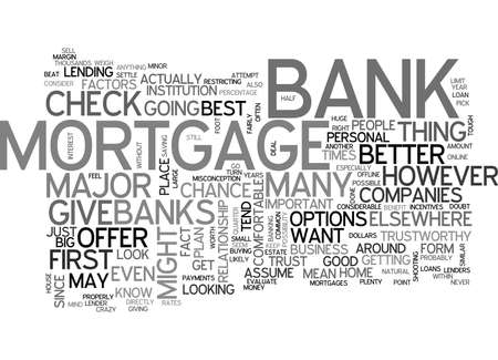 WILL YOUR BANK GIVE YOU THE BEST MORTGAGE TEXT WORD CLOUD CONCEPT