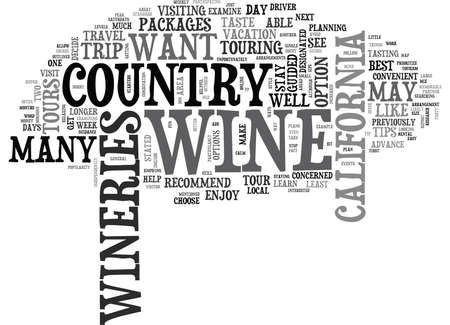 single word: WINE COUNTRY TRAVEL TIPS TEXT WORD CLOUD CONCEPT Illustration