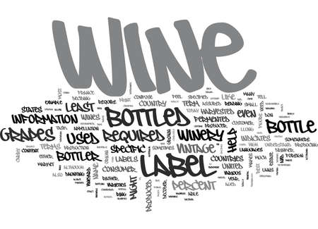 avid: WINE LABELS DECODED TEXT WORD CLOUD CONCEPT Illustration