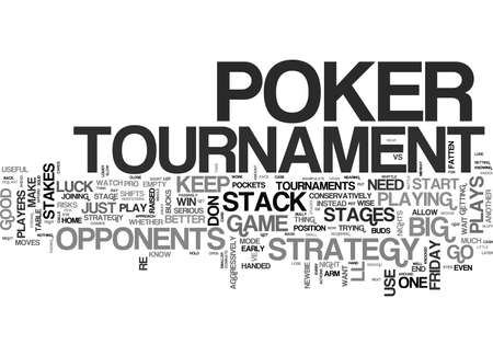 WIN BIG WITH A POKER TOURNAMENT STRATEGY TEXT WORD CLOUD CONCEPT Çizim