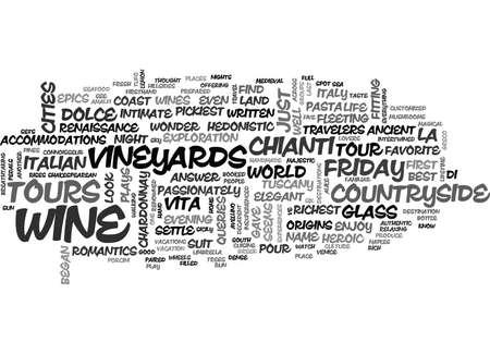 WINE TOURS LA DOLCE VITA TEXT WORD CLOUD CONCEPT Иллюстрация