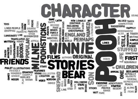 WINNIE THE POOH CHARACTER TEXT WORD CLOUD CONCEPT Illustration