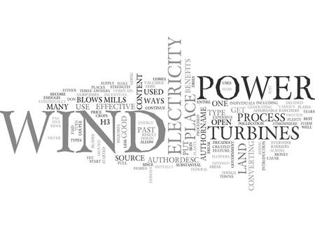 WIND POWER TEXT WORD CLOUD CONCEPT