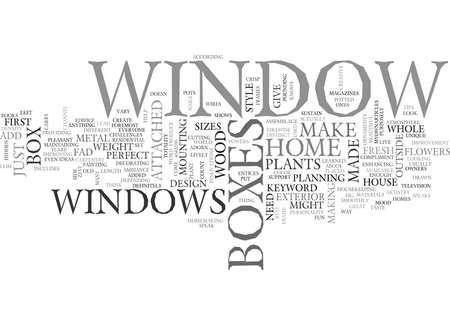 WINDOW BOXES TEXT WORD CLOUD CONCEPT Stock Illustratie