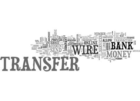 WIRE TRANSFERS THE EASIEST WAY TO SEND MONEY TEXT WORD CLOUD CONCEPT