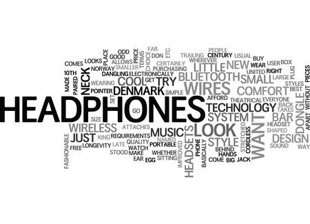 WIRELESS HEADPHONES TEXT WORD CLOUD CONCEPT Illustration