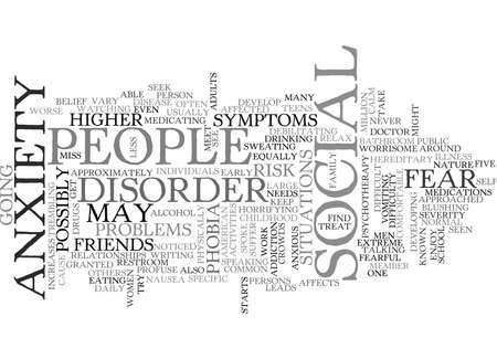 WHAT IS SOCIAL ANXIETY TEXT WORD CLOUD CONCEPT Illustration