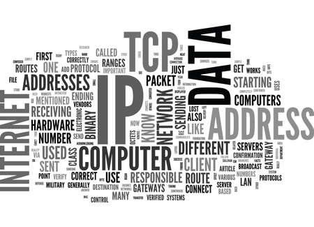 TCP IP 텍스트 단어 클로우즈 개념 일러스트