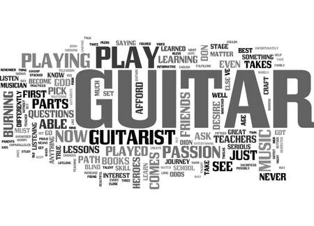 WHAT IT TAKES TO BE A GUITARIST TEXT WORD CLOUD CONCEPT