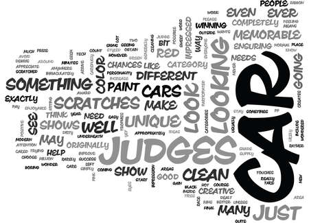 WHAT JUDGES LOOK FOR AT CAR SHOWS TEXT WORD CLOUD CONCEPT
