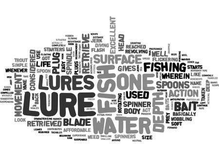 WHAT LURES WHAT FISH TEXT WORD CLOUD CONCEPT