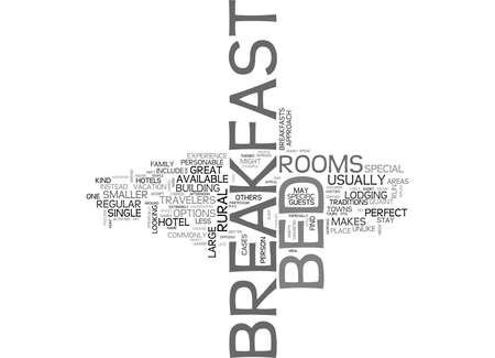 WHAT MAKES A BED BREAKFAST SO SPECIAL TEXT WORD CLOUD CONCEPT Иллюстрация