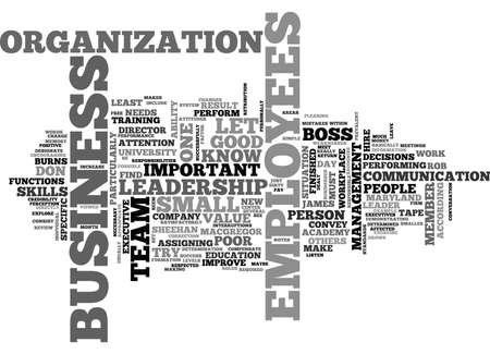 WHAT MAKES A GOOD BOSS TEXT WORD CLOUD CONCEPT