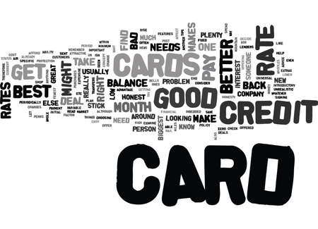 WHAT MAKES A GOOD CREDIT CARD TEXT WORD CLOUD CONCEPT Иллюстрация