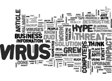 writer: WORK GREW A VIRUS THREAT HYPE OR DUD AND ITS IMPACT TEXT WORD CLOUD CONCEPT