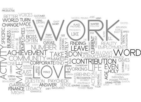 WORK IS A FOUR LETTER WORD TEXT WORD CLOUD CONCEPT Vektoros illusztráció