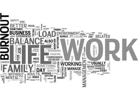 WORK LIFE BALANCE AND BURNOUT TEXT WORD CLOUD CONCEPT Çizim