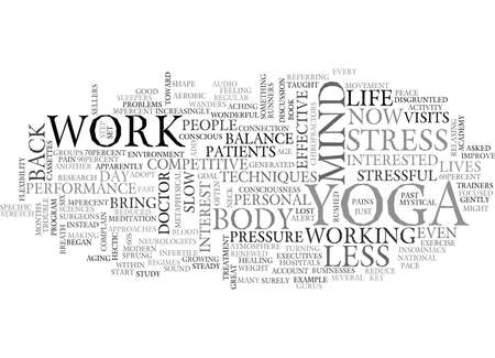 WORK LIFE BALANCE AND YOGA TEXT WORD CLOUD CONCEPT