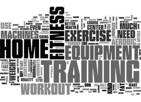 ホームのテキスト単語の概念はクラウドでトレーニングや運動機器