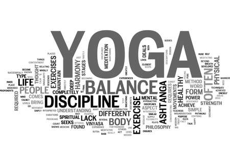 YOGA AS A LIFE PHILOSOPHY TEXT WORD CLOUD CONCEPT Illustration